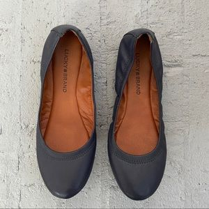 Lucky Brand navy leather Emmie flat